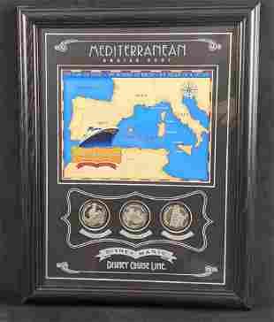 Disney Magic Mediterranean Cruise 2007 Map W Coins