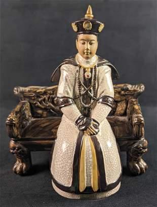 Vintage Ceramic Figurine Emperor Or Royal Court Member