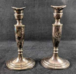 Two Vintage Gorham Silverplate Candle Holders