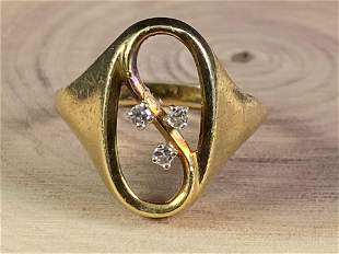 Vintage 14K Gold & Diamonds Cocktail Ring