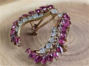 Vintage 10K Gold Diamond Garnet Cluster Earrings