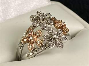 Designer RJ 14K White & Rose Gold Pave Diamond Daisy
