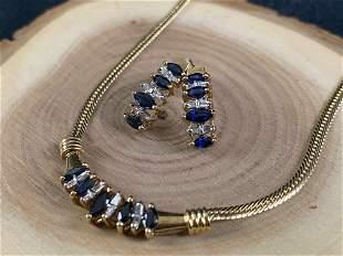 Vintage 10K Gold Sapphire Diamond Necklace & Earring