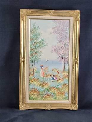 Original Painting Women and Childern at Shoreline