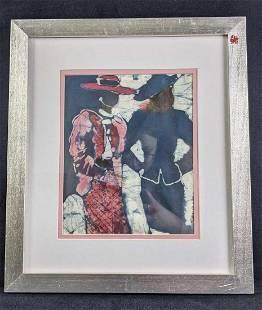 Vintage Painting on Silk, Framed Two Ladies