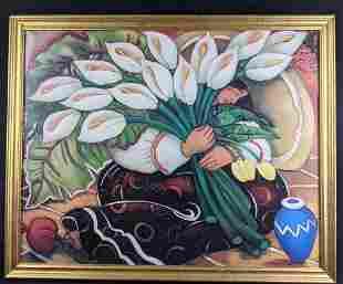 L. Carter Holman Blue Vase Pomegranate Framed Print