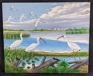 White Ibis Signed Original Painting by Karl Karalus
