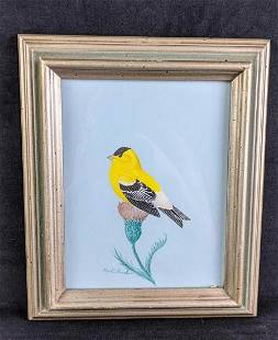 Goldfinch on Flower by Karl Karalus Signed and Framed