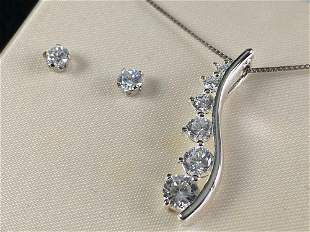 Sterling Silver Pendant Chain & CZ Studs