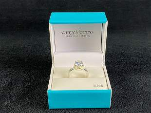 New Silver Plated Solitaire CZ Engagement set