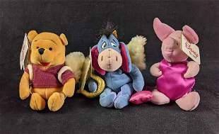 UK Winnie The Pooh Valentines Beanie Babies- 3 in Lot