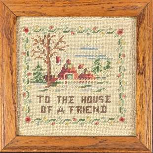 Framed Vintage Needlepoint To The House Of A Friend