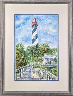 Framed Signed Wayne A. Timm St. Augustine Lighthouse