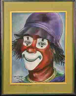 Original Pastel Chalk Clown Ringling Brothers & Barnum