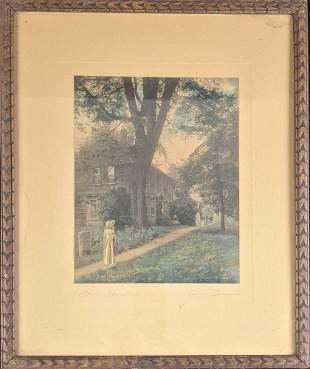 Vintage Framed Hand Colored Photo Historic Homestead