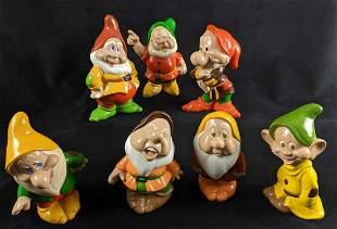 Vintage Ceramic Hand Painted Disney Seven Dwarves