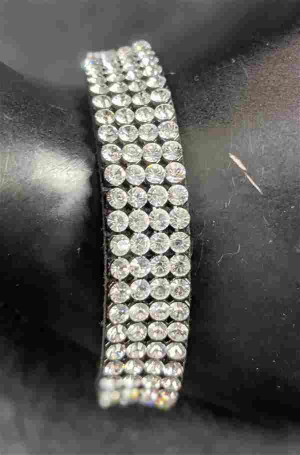 Swarovski Crystal Silver Plate Black Fabric Bracelet