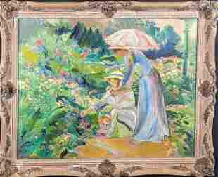 Original Acrylic On Canvas Ladies Picking Flowers