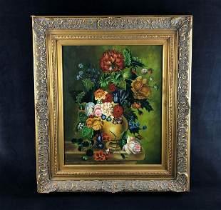 Vintage Original Oil On Canvas Floral Still Life Signed