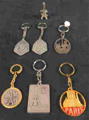 Seven Pewter Metal Paris And The Pope Keyrings
