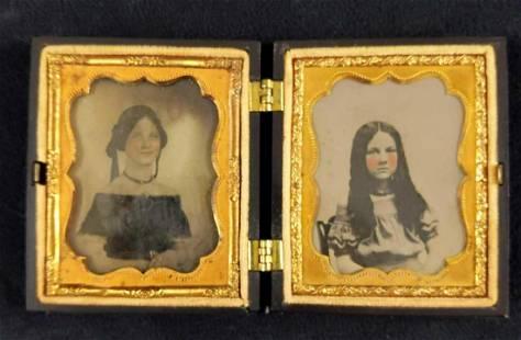 Antique Tintype Portrait W Gutta Percha Cases