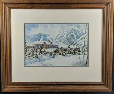 Framed Nancy Taylor Stonington Print Winter Lodge