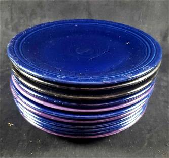 Set of 12 Homer Laughlin Fiesta Ware Cobalt Purple and