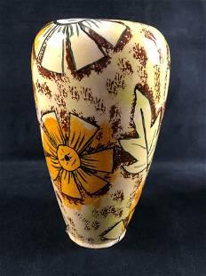 Vintage Hand Painted Vase Flowers Leaves Brown Yellow