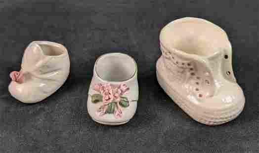 3 Ceramic Baby Shoes Flower Pots