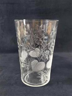 Floral Frosted Embossed Glass Vase
