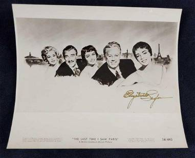 Autographed Elizabeth Taylor Vintage Lobby Card