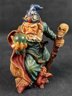 Wizard With Skull Staff Dragon Resin Figurine