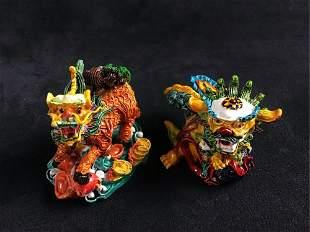 Dragon Tiger Lion Chinese Art Figurines Lot B