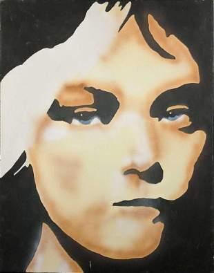 Original Acrylic Airbrush On Canvas Girl