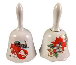 Vintage Maine Lobster And Floral Porcelain Bells