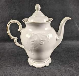 Teapot Royal Kent Gold Trim Teapot White Teapot