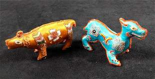 Two Silk Animal Indian Animal Figures Folk Art B