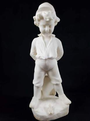 Carved Italian White Marble of Boy and Frog Sculpture
