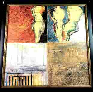 Large Abstract Print On Canvas 4 Panels Figures and