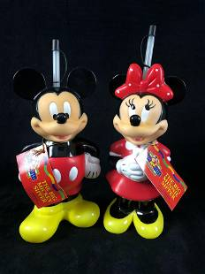 1999 Disney Big Mickey & Minnie Mouse Sippers Reusable