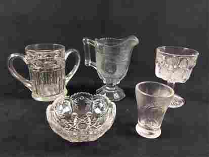 Clear Cut and Pressed Glass Lot of 5