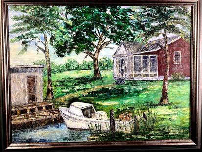Acrylic Painting Signed by Artist Home & Boat