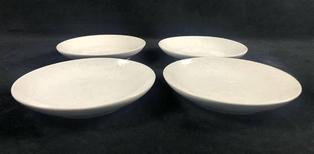 Lot of 4 Flurry Snowflake Plate Low Edge Bowl Dishware