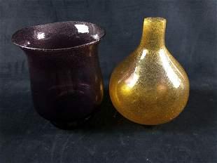 Vintage Purple & Yellow Hand-Blown Vases