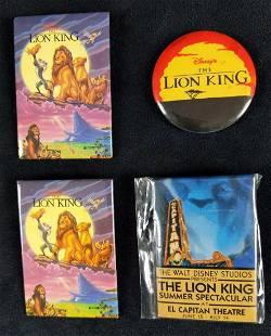 Four Disney Lion King Promo Buttons Pins Badges