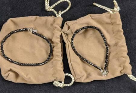 QVC Black Spinel Bracelet Lot Of Two