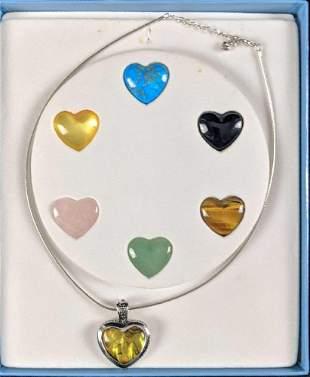 Tresor De La Mer Sterling Silver 7 Heart Necklace