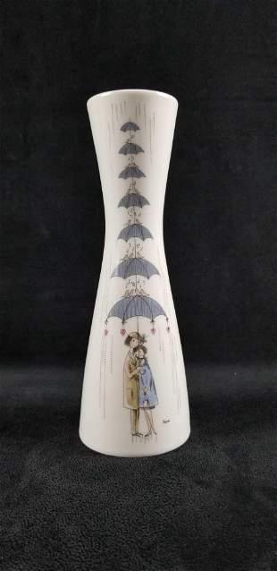 Vintage Rosenthal German Vase Lovers In the Rain