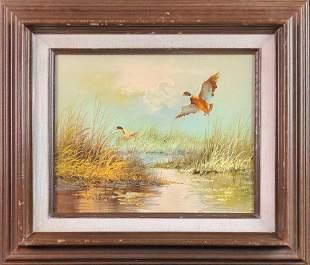 Original Framed Oil On Panel Painting Duck Hunt