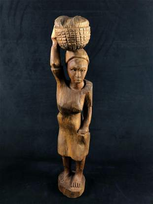"""Vintage Handmade Solid Wood """"Woman Carrying A Basket"""""""